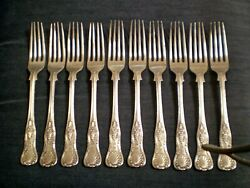 Set 10 Forks Henry Fielding And Son Hfands Vintage Silver Plate Flatware 7 1/2