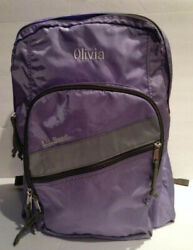 L.L. Bean LARGE PERSONALIZED BACKPACK OLIVIA Lots of Storage Lavender Purple $29.99