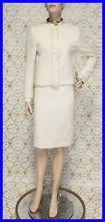 90-s Vintage Gianni Versace Couture Boucle Skirt Suit With Pearls