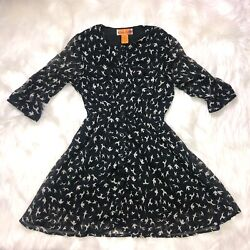 She's Cool Girls Black Bird Print Sheer Dress 8 $14.00