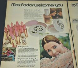 1971 Vintage Print Ad Max Factor Welcomes You Pure Magic Liquid Makeup 2 Page