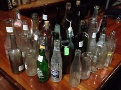 Bulk Lot Of 34 Antique Glass Bottles Late 1800's And Up Soda, Wine, Milk, Beer