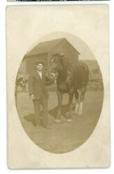 Rppc Guy With A Horse On A Farm Laramie Wy 1913 Wyoming Real Photo Postcard