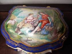 Large Blue Chest - Lovers Jewelry Limoges Box -1 Of 250 - Extremely Rare