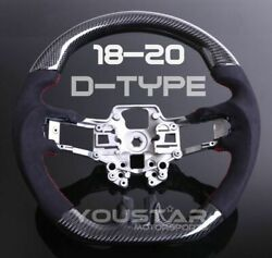 Flat Bottom Carbon Suede Alcantara Steering Wheel For Ford Mustang Shelby 18-20