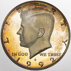 1992-s Kennedy Half Dollar Silver Proof Color Unc Striking Toned Neon Gem Dr