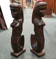 Pair Of Mid 20th Century Balinese Mermaid Hand Carved Ironwood Sculptures