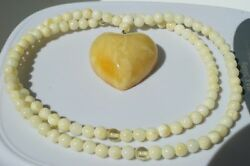 Baltic Natural Amber Necklace With Pendant Heart Stone 15 G. Dhl Shipping