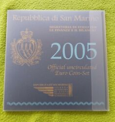 San Marino 9 Different Unc Coins Set 1 Cent - 5 Euro Silver 2005 Year Mint Pack