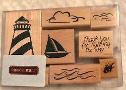 8 Lighthouse Beach Ocean Nautical Rocks Waves Thank You Sailboat Rubber Stamps
