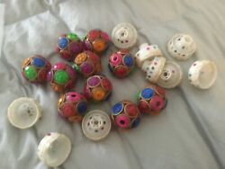 Vintage Lot Jeweled Plastic Christmas Replacement Light Bulb Covers