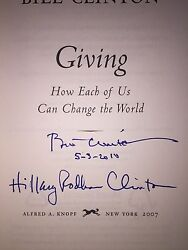 Bill And Hillary Rodham Clinton Autographed Dual - Signed Book Giving 1st/1st