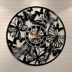 Fairy Wing Angel Butterfly Wall Art Home Decor Clock Vinyl Record Watch For Gift