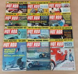 Hot Rod Magazine 1963 Complete Year Lot of 12 Issues Valiant Drags 426 Indy Tech