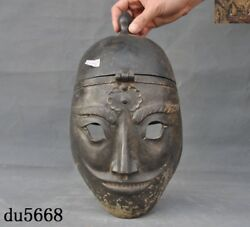 Antique Old Chinese Dynasty Bronze Ware Army General Warrior Helmet Mask Statue