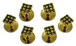 Tuxedo Shirt Cuff-links Sapphire Sterling Sliver 21k Gold Plated Stud Sets J14s