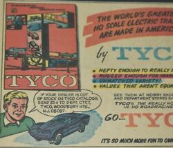 1967 Vintage Print Ad Tyco Ho Electric Scale Trains Road Racing Cars Toys