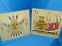 Navajo Sand Paintings Signed B. Smith Wind Chant And Still Life Neutral Col