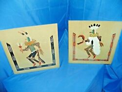Navajo Sand Paintings Signed By Jackson Chei- Yei Bei Chei Dancers Set Of Two