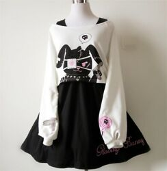 Black Comic Rabbit Dress 2 Pcs Suit Kawaii Bunny Print Japanese Lolita Dress