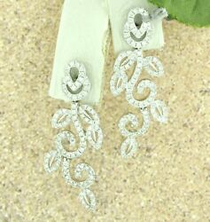 14k Solid White Gold Nature Diamond Dangling Earring Stylish 2.75 Ct Leaf Style