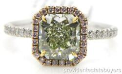 GIA 2.79ct YellowGreen Radiant & Pink Diamond HALO Ring Sz.7.5