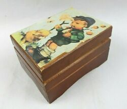 Vintage Square Wooden Music Box Boy With Dog Toyo Japan