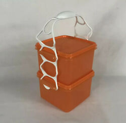 New Set Tupperware Square Away Sandwich Keeper Container W/ Handle 1674 Orange