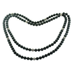 644 Ct Black Onyx Pave Diamond .925 Sterling Silver Long Necklace Beaded Jewelry