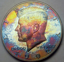 1992-s Kennedy Half Dollar Silver Proof Bu Monster Unc Neon Color Toned Dr