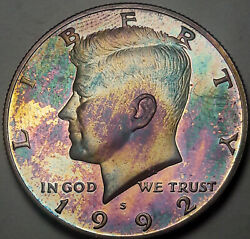 1992-s Kennedy Half Dollar Silver Proof Toned Bu Monster Unc Rainbow Color Dr