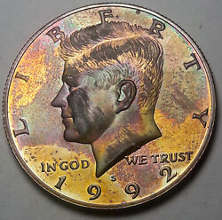 1992-s Kennedy Half Dollar Silver Proof Deep Color Toned Bu Monster Unc Dr