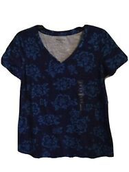 Womens Relativity Blue Floral Short Sleeve V-neck Top, Size S - Nwt