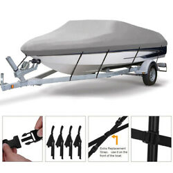 Waterproof Trailerable Boat Cover Runabout Pontoon V-hull Tri-hull Cotton Inside