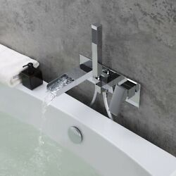 Modern Waterfall Wall-mount Tub Filler Faucet And Handshower In Chrome Solid Brass