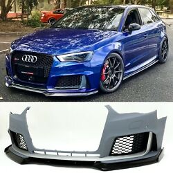 Bkm Rs3 Style Aftermarket Front Bumper Fits Audi A3 / S3 8v0 With Lip
