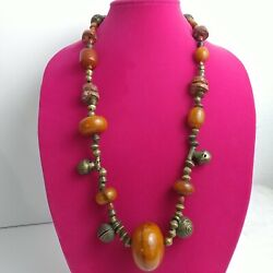 Brass Bell Beads, African Amber-phenolic Resin, And Bauxite Vintage Necklace 30