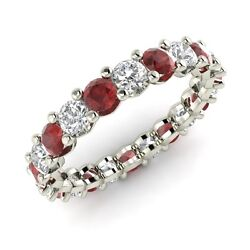 Certified 2.34 Ctw Garnet And Gh Si Diamond 14k White Gold Eternity Band Ring