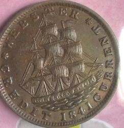 1841 Hard Times Token Ht-16 Low-58 Ship Not One Cent Uncirculated