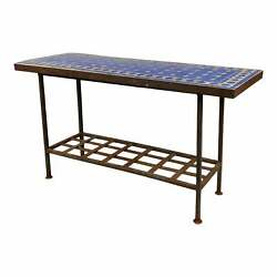 Antique Spanish Mosaic Blue Tile Top And Wrought Iron Garden Console Table