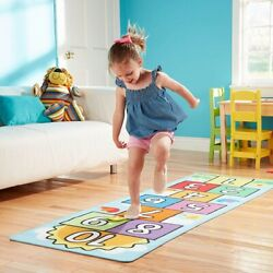 Indoor Outdoor Game For Kids Hop amp; Count Hopscotch Skid Proof Backing Rug Age3 7