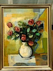 Original Painted Oil On Canvas Cubism Still Life Flowers By A.cherkas Frame