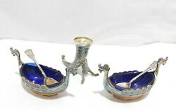 Gorgeous Vintage Norway Sterling Silver Blue Crystal Viking Table Set Shakers