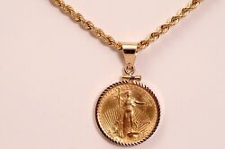 1999 American Gold Eagle 10 Coin Pendant Necklace 14k Gold 20 Rope Chain