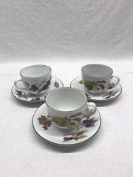 Evesham Vale Royal Worcester Tea Cups And Saucers Set Of 3