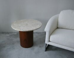 Round Marble And Walnut Drum Side Table - Harvey Probber