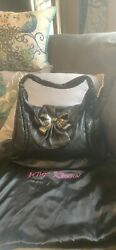 Betsey Johnson Black Leather Bow Pewter Bag W Contrast Stitching Rare $149.00