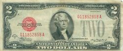 1928 Series G 2 Two Dollar Red Seal Note Bill Us Currency
