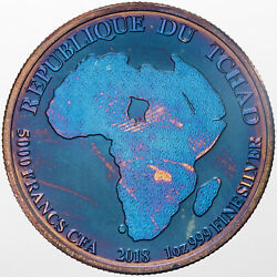 2018 Republic Of Chad African Lion 999 Silver Color Unc Golden Blue Toned Dr