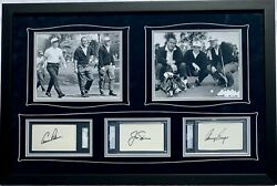 Gary Player Arnold Palmer Jack Nicklaus Framed Signed Cuts Psa/dna And Sgc Authen